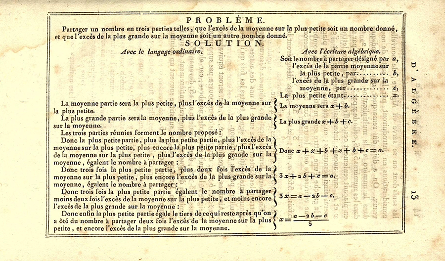 Page 13 from 1825 printing of Lacroix's Elements of Algebra.