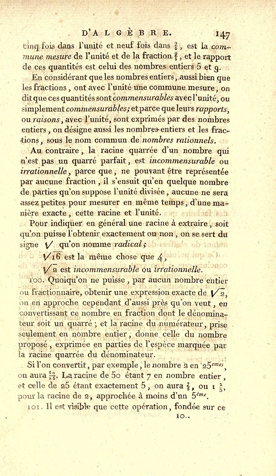 Page 147 of 1825 printing of Lacroix's Elements of Algebra.
