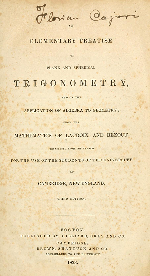 Title page for Farrar's translation of Bézout's and Lacroix's trigonometry textbook.