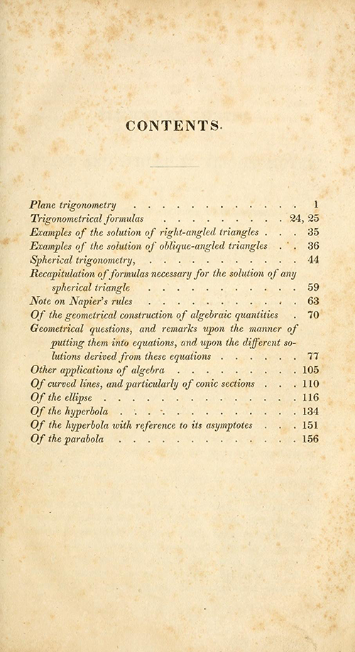 Table of contents for Farrar's translation of Bézout's and Lacroix's trigonometry textbook.