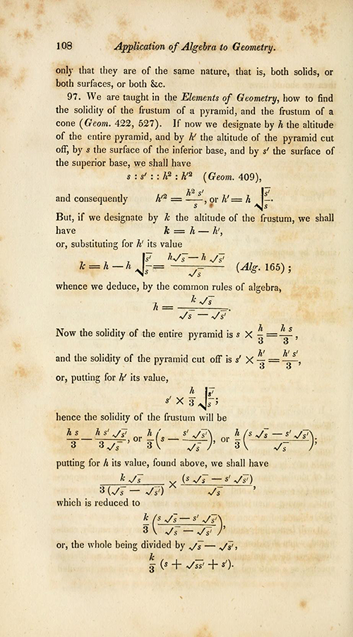 Page 108 of Farrar's translation of Bézout's and Lacroix's trigonometry textbook.
