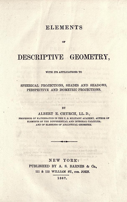 Title page of Elements of Descriptive Geometry by Albert Church, 1867