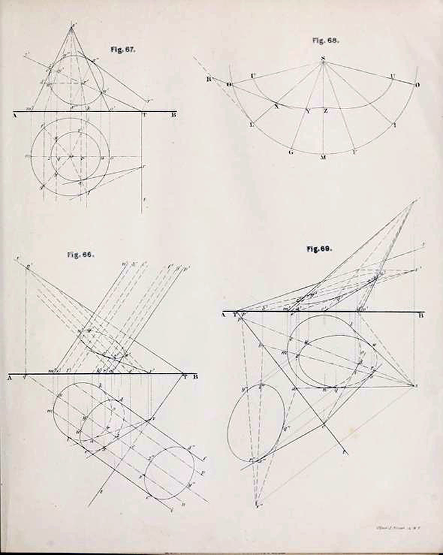 First page of diagrams from Plates to Descriptive Geometry by Albert Church, 1867