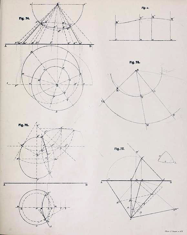 Second page of diagrams from Plates to Descriptive Geometry by Albert Church, 1867