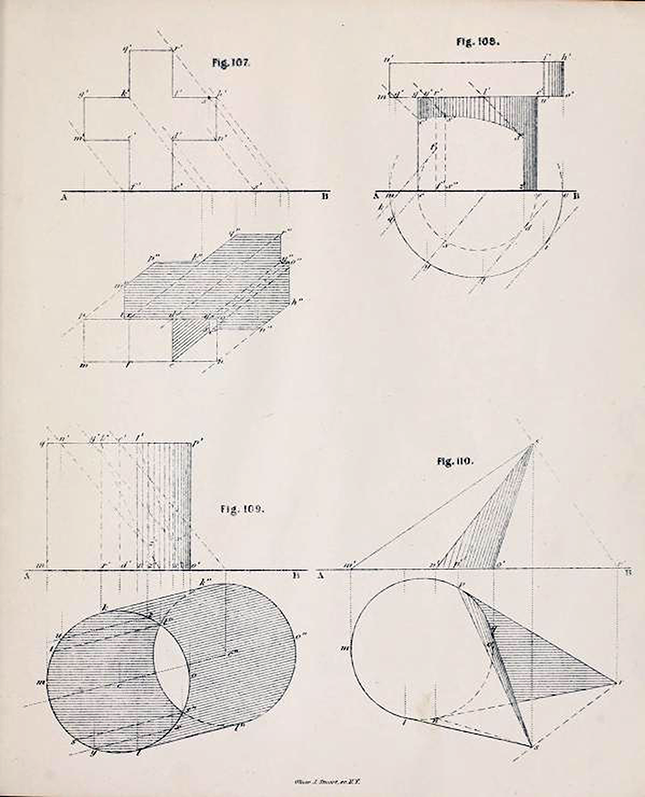 Third page of diagrams from Plates to Descriptive Geometry by Albert Church, 1867