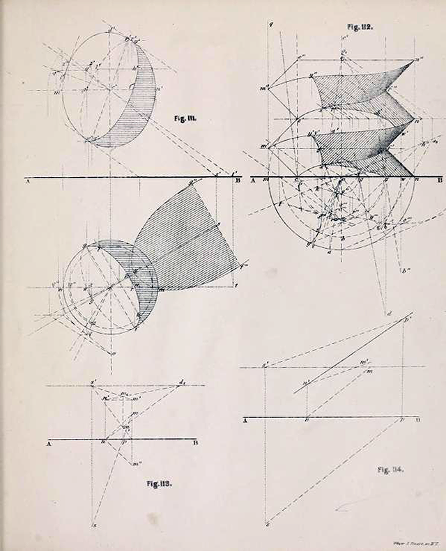 Fourth page of diagrams from Plates to Descriptive Geometry by Albert Church, 1867