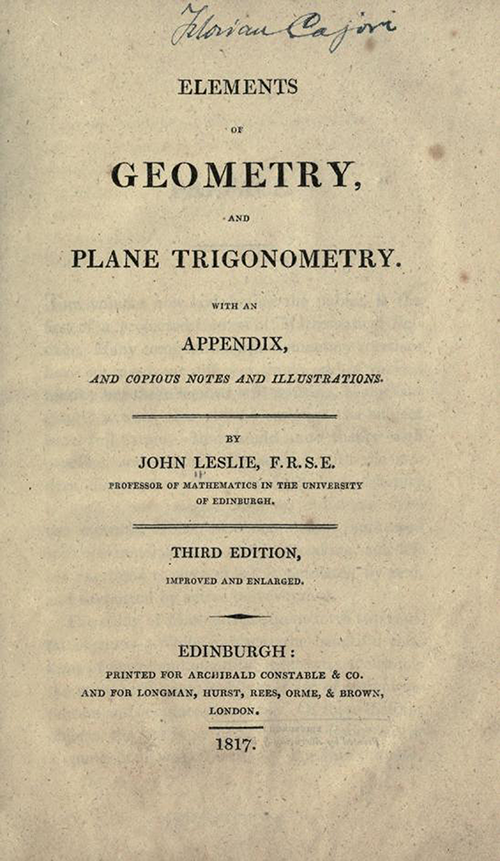 Title page of Elements of Geometry and Plane Trigonometry by John Leslie, third edition, 1817