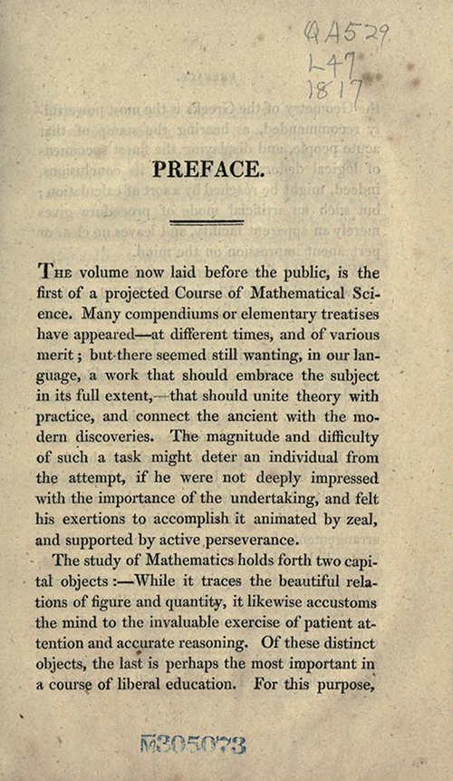 Page one of preface to Elements of Geometry and Plane Trigonometry by John Leslie, third edition, 1817