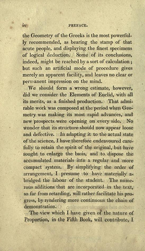Page two of preface to Elements of Geometry and Plane Trigonometry by John Leslie, third edition, 1817