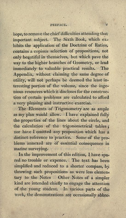 Page three of preface to Elements of Geometry and Plane Trigonometry by John Leslie, third edition, 1817