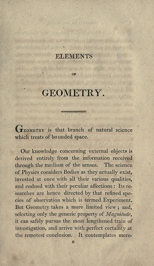 Page one of Elements of Geometry and Plane Trigonometry by John Leslie, third edition, 1817