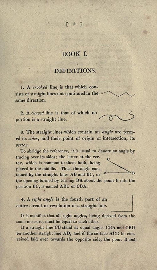 Page five of Elements of Geometry and Plane Trigonometry by John Leslie, third edition, 1817