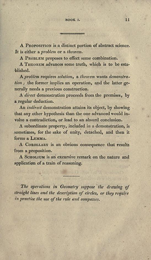 Page 11 of Elements of Geometry and Plane Trigonometry by John Leslie, third edition, 1817