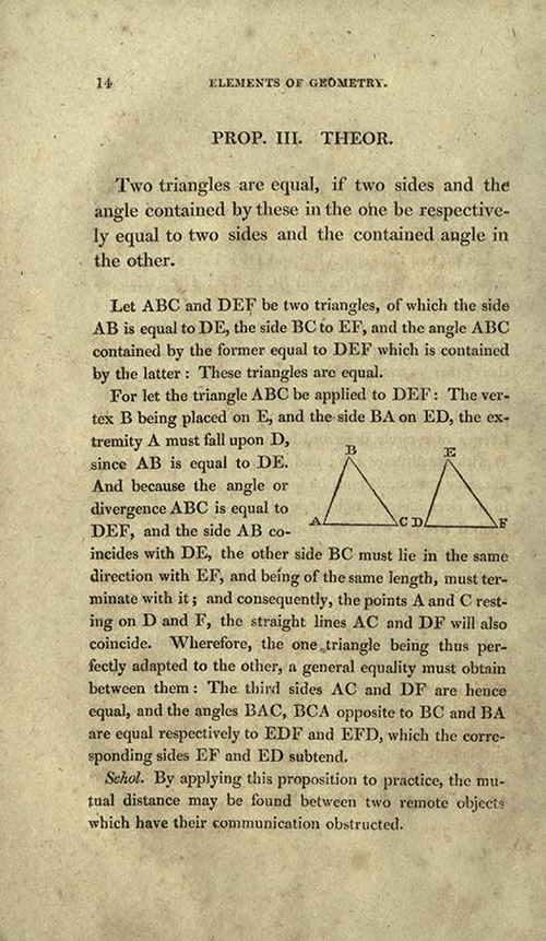 Page 14 of Elements of Geometry and Plane Trigonometry by John Leslie, third edition, 1817