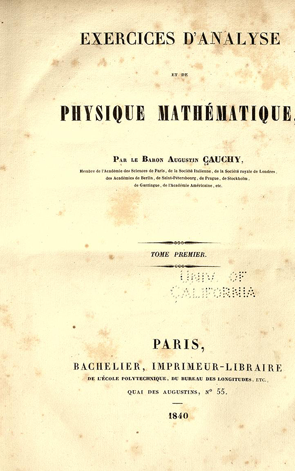 Title page for Exercices d'Analyse et de Physique Mathematique by Cauchy