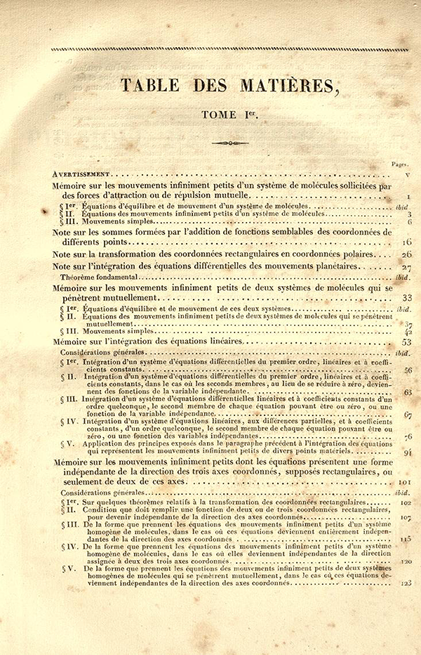 First page of Table of Contents for Exercices d'Analyse et de Physique Mathematique by Cauchy