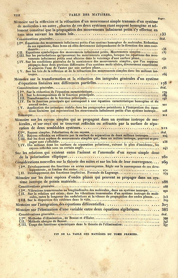 Second page of Table of Contents for Exercices d'Analyse et de Physique Mathematique by Cauchy