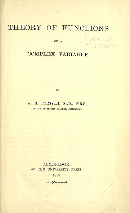 Title page of Theory of Functions of a Complex Variable by Andrew Forsyth in 1893