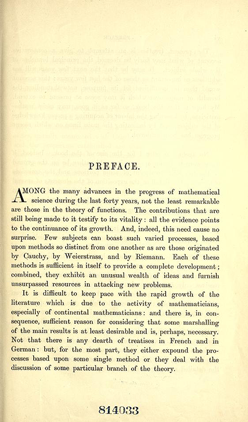 First page to the Preface of Theory of Functions of a Complex Variable by Andrew Forsyth in 1893