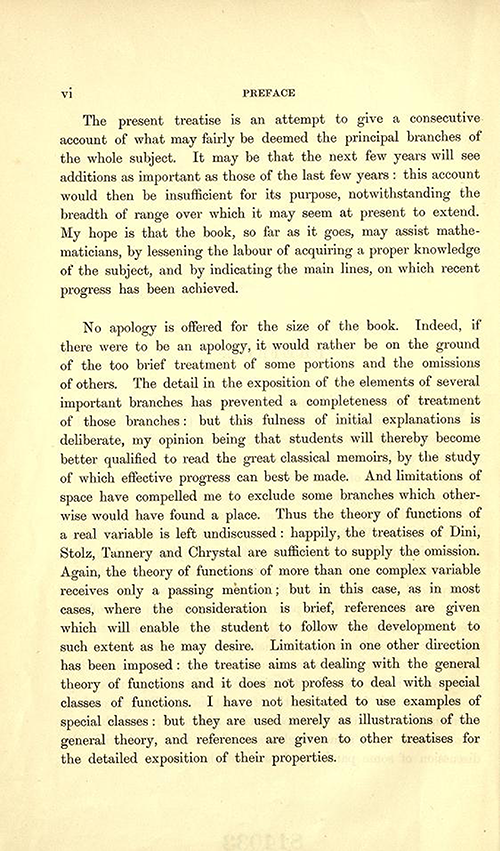 Second page to the Preface of Theory of Functions of a Complex Variable by Andrew Forsyth in 1893