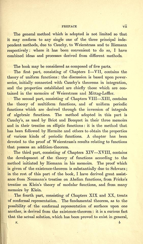 Third page to the Preface of Theory of Functions of a Complex Variable by Andrew Forsyth in 1893