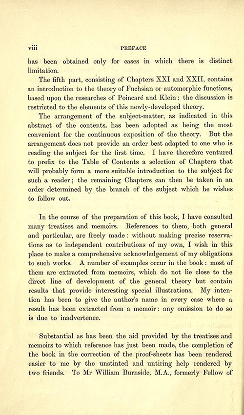 Fourth page to the Preface of Theory of Functions of a Complex Variable by Andrew Forsyth in 1893