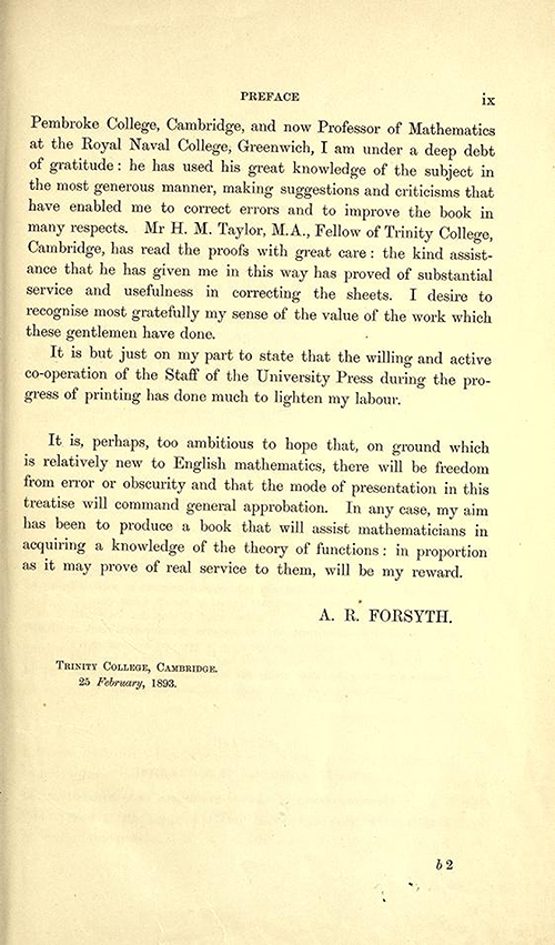 Fifth page to the Preface of Theory of Functions of a Complex Variable by Andrew Forsyth in 1893