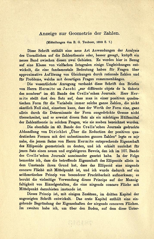 First page of opening comments in Geometrie der Zahlen by Herman Minkowski, 1910