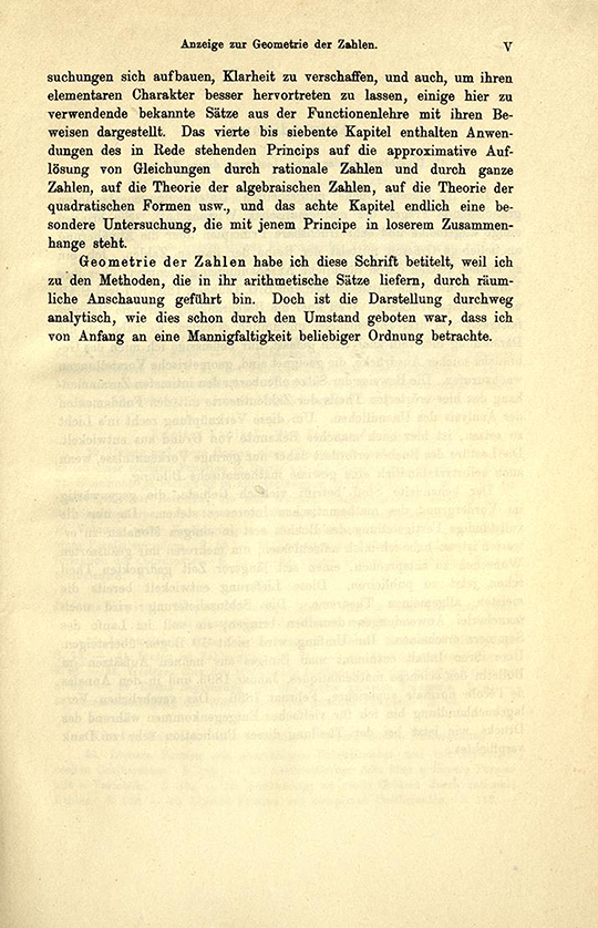 Second page of opening comments from Geometrie der Zahlen by Herman Minkowski, 1910