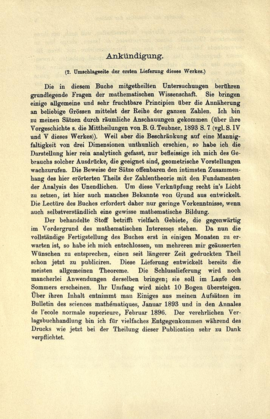 Announcement detailing where work had been previously published from Geometrie der Zahlen by Herman Minkowski, 1910