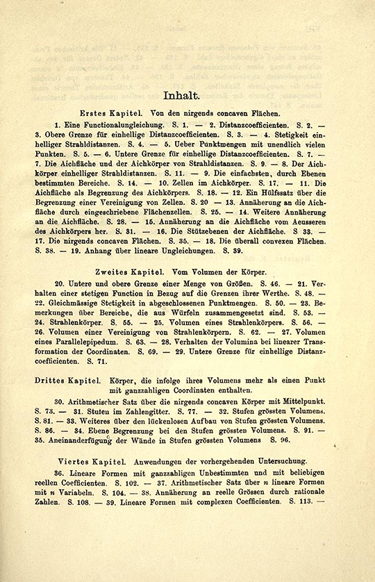 First page of table of contents from Geometrie der Zahlen by Herman Minkowski, 1910