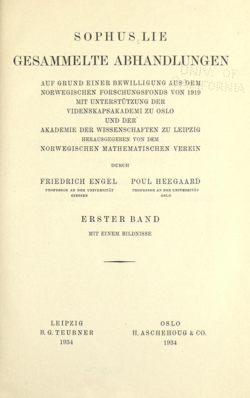 Title page from volume I of Gesammelte Abhandlungen, 1934