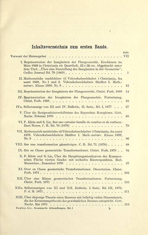 First page of table of contents from volume I of Gesammelte Abhandlungen, 1934