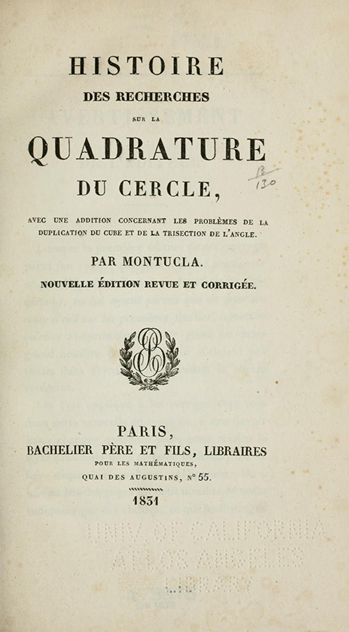 Title page for 1831 edition of Montucla's history of circle quadrature.