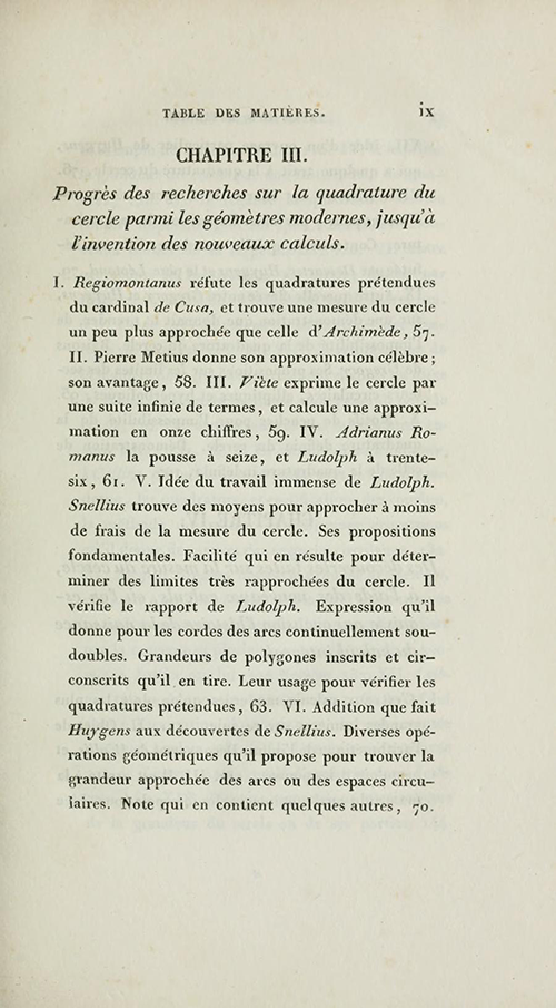 Page ix from 1831 edition of Montucla's history of circle quadrature.