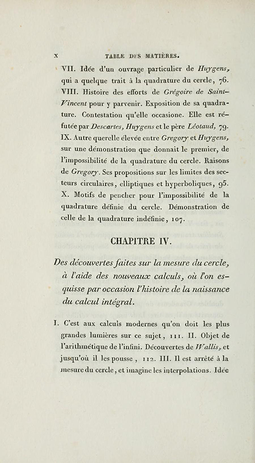 Page x from 1831 edition of Montucla's history of circle quadrature.