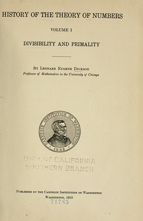 Title page for History ot the Theory of Numbers Volume 1 by Leonard Dickson