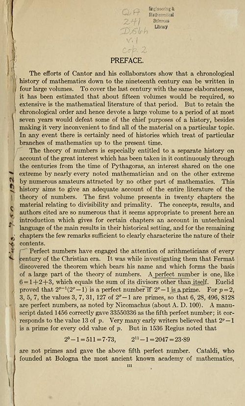First page of the Preface for History ot the Theory of Numbers Volume 1 by Leonard Dickson