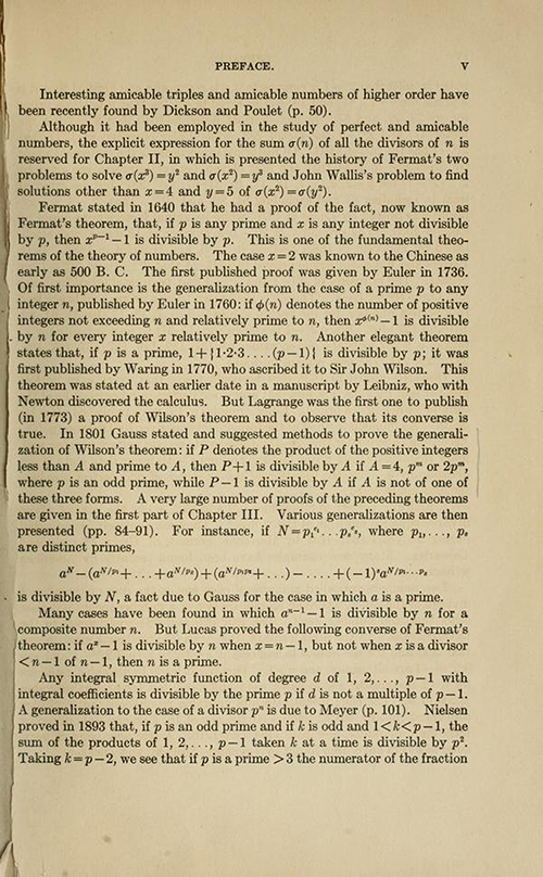 Third page of the Preface for History ot the Theory of Numbers Volume 1 by Leonard Dickson