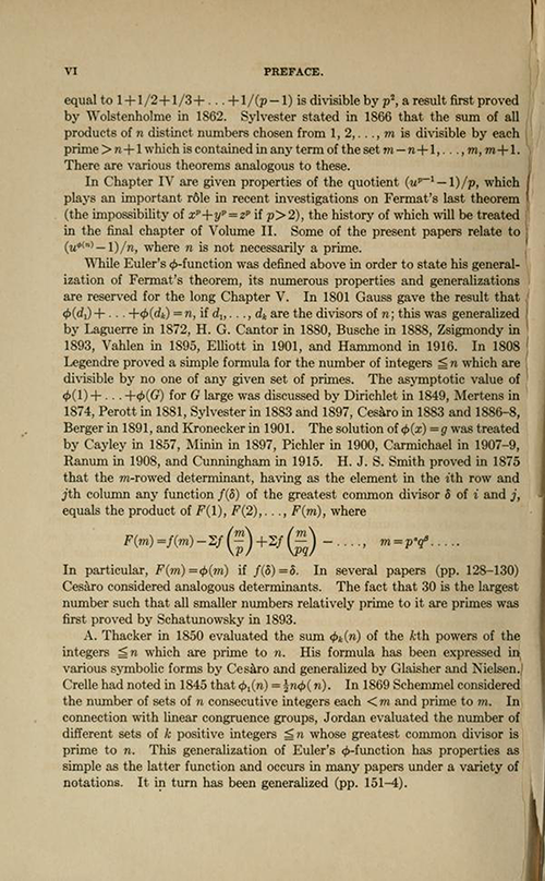 Fourth page of the Preface for History ot the Theory of Numbers Volume 1 by Leonard Dickson