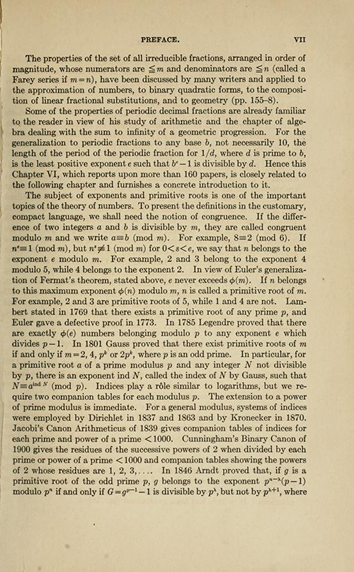Fifth page of the Preface for History ot the Theory of Numbers Volume 1 by Leonard Dickson