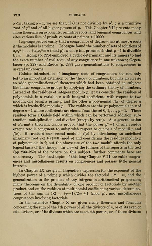 Sixth page of the Preface for History ot the Theory of Numbers Volume 1 by Leonard Dickson
