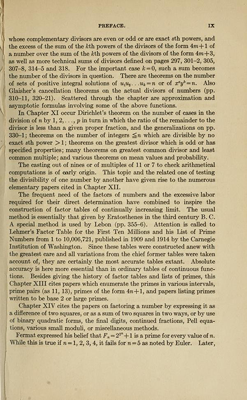 Seventh page of the Preface for History ot the Theory of Numbers Volume 1 by Leonard Dickson