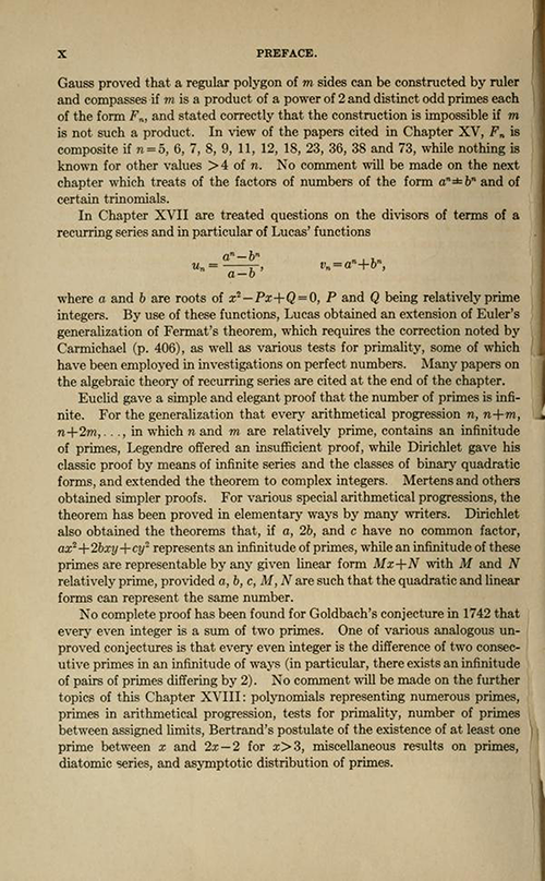 Eighth page of the Preface for History ot the Theory of Numbers Volume 1 by Leonard Dickson