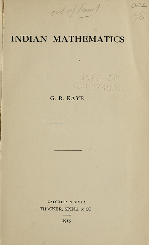 Title page of Indian Mathematics by George Kaye