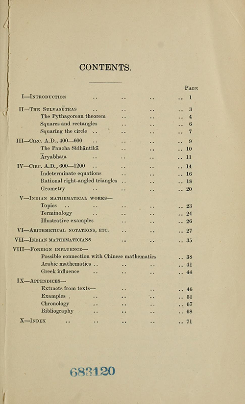Table of Contents from Indian Mathematics by George Kaye