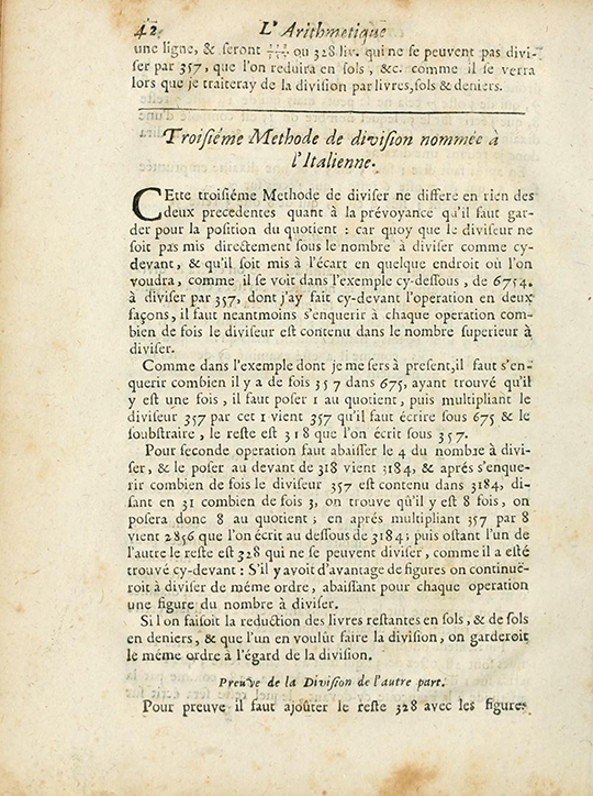 Page 42 of 1690 edition of The Arithmetic in its Perfection.