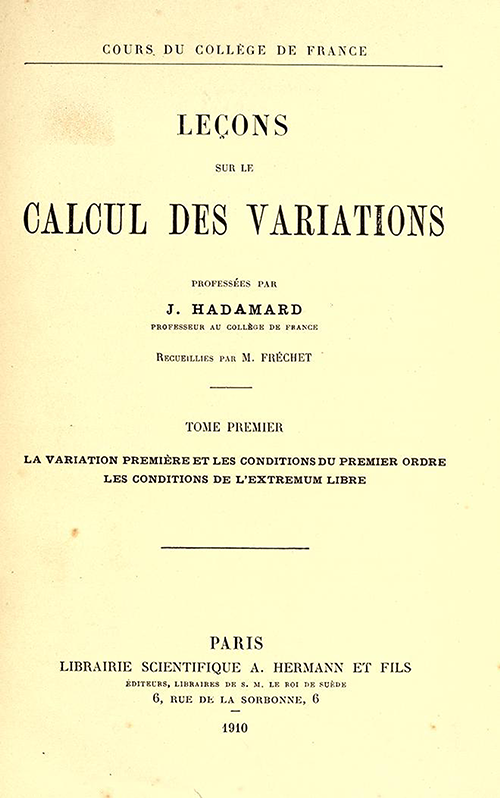 Title page of Leçons sur le calcul des variations by Jacques Hadamard, 1910