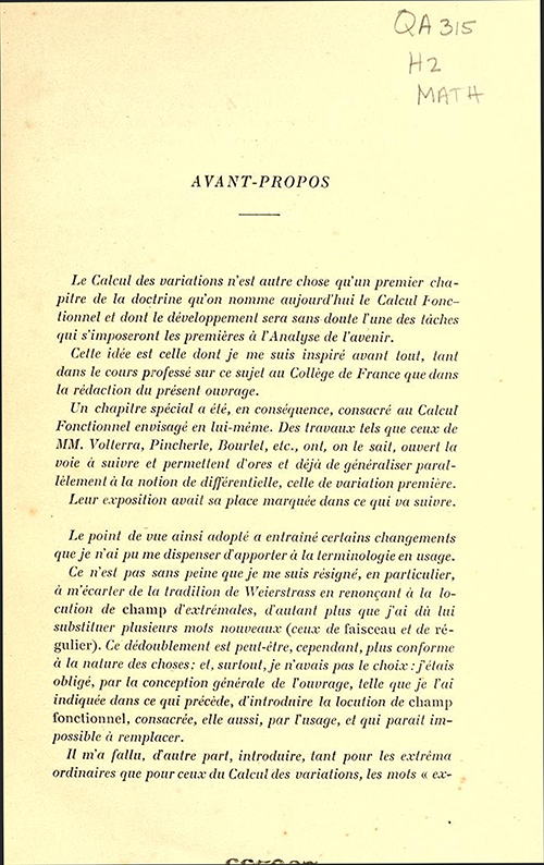 First page of Foreward to Leçons sur le calcul des variations by Jacques Hadamard, 1910