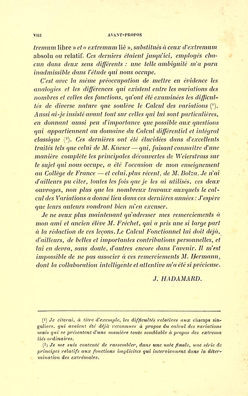 Second page of Foreward to Leçons sur le calcul des variations by Jacques Hadamard, 1910